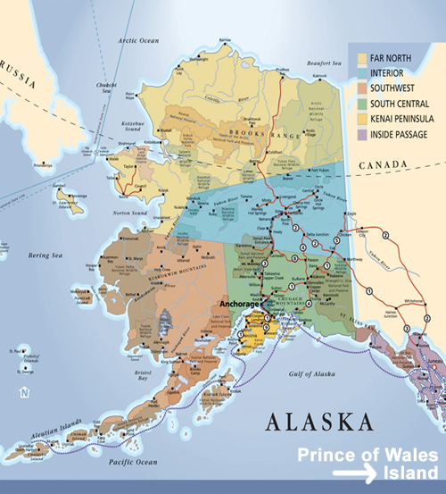 Vacation Country Travel Guide Northwest USA and Alaska – Alaska Tourist Attractions Map
