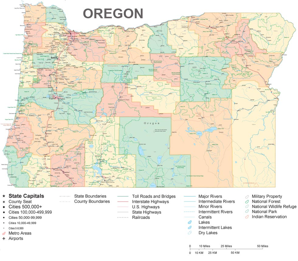 Large And Very Detailed Map Of Oregon From The Pcl Map